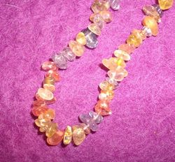 Crystal chip necklace - Mixed pastel clear stones 75cm