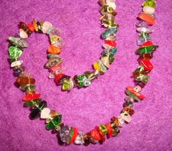 Crystal chip necklace - Mixed stones 70cm