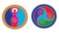 Decals - small x 2 - Earth Mother & Mind Body & Soul 6 cm dia. each