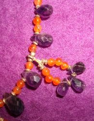 Necklace and Bracelet - Carnelian and Amethyst